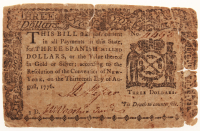 1776 $3 Three Dollars New York Colonial Currency Note at PristineAuction.com
