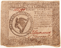 1778 $8 Eight Dollars Continental Colonial Currency Note at PristineAuction.com