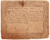 1775 $1 One Dollar Maryland Colonial Currency Note at PristineAuction.com