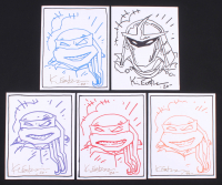 "Lot of (5) Kevin Eastman Signed ""Teenage Mutant Ninja Turtles"" 8x10 Sketch on Canvas Inscribed ""20"" (JSA COA) at PristineAuction.com"