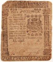 1775 40s Forty Shillings Pennsylvania Colonial Currency Note at PristineAuction.com