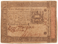 1773 Two Shillings & Six-Pence Pennsylvania Colonial Currency Note at PristineAuction.com