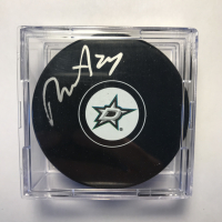 Roope Hintz Signed Stars Logo Hockey Puck with Display Case (Beckett COA) at PristineAuction.com