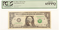 2013 $1 One Dollar Federal Reserve Note - Low Serial Number - L00000037D (PCGS 65) (PPQ) at PristineAuction.com