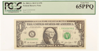 2013 $1 One Dollar Federal Reserve Note - Low Serial Number - L00000038D (PCGS 65) (PPQ) at PristineAuction.com