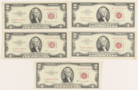 Lot of (5) 1953-1963 $2 Two Dollars Red Seal U.S. Legal Tender Notes at PristineAuction.com