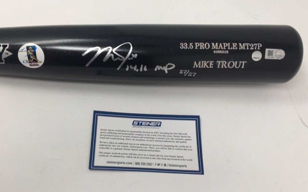 """Mike Trout Signed Old Hickory Player Model MT27P LE Baseball Bat Inscribed """"14,16 MVP"""" (Steiner COA) at PristineAuction.com"""