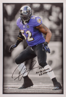 """Ray Lewis Signed Ravens 22.5x33 Print on Canvas Inscribed """"2x SB Champs SB XXXV MVP"""" at PristineAuction.com"""