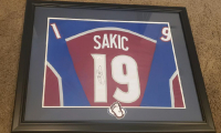 Joe Sakic Signed 30x35.5 Custom Framed Jersey Display with Patch (JSA Hologram) at PristineAuction.com