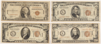 """1934-35 Hawaii Brown Seal WWII """"Emergency Note"""" Set of (4) with $1, $5, $10, & $20 at PristineAuction.com"""