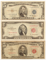 Lot of (3) Star Note Bills with 1953-A $2 U.S. Legal Tender Note, 1953-A $5 Silver Certificate, & 1963 $5 U.S. Legal Tender Note at PristineAuction.com