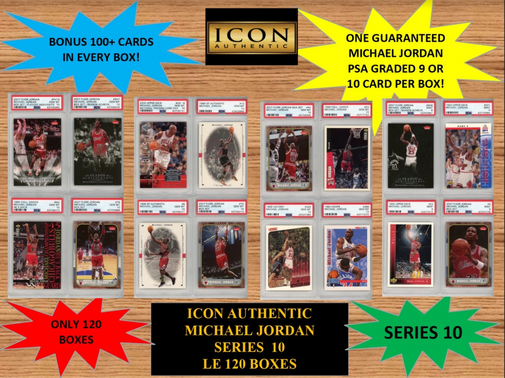 ICON AUTHENTIC  MICHAEL JORDAN MYSTERY BOX SERIES 10  (Guaranteed Michael Jordan PSA Graded 9 OR 10 in every box) at PristineAuction.com