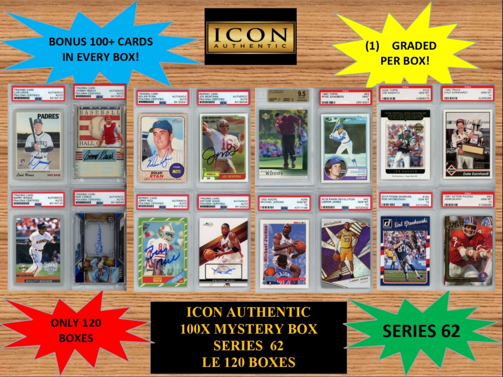 ICON AUTHENTIC 100X MYSTERY BOX SERIES 62 100+ Cards per Box at PristineAuction.com