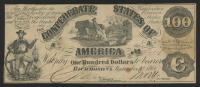 1861 $100 One Hundred-Dollar Confederate States of America Richmond CSA Bond at PristineAuction.com