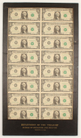 Uncut Sheet of (16) 1995 $1 Dollar Green Seal U.S. Federal Reserve Note Bills 14x24.5 Custom Matted Display at PristineAuction.com