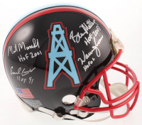 Oilers Matte Black Full-Size Authentic On-Field Helmet Signed By (7) With Warren Moon, Earl Campbell, Elvin Bethea With Multiple Inscriptions (JSA COA) at PristineAuction.com