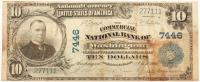 1902 $10 Ten Dollars U.S. National Currency Large Bank Note - The Commercial National Bank of Washington, D.C. at PristineAuction.com