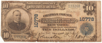 1902 $10 Ten Dollars U.S. National Currency Large Bank Note - Chatham Phenix National Bank and Trust Company of New York, New York at PristineAuction.com