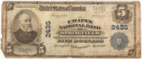 1902 $5 Five Dollars U.S. National Currency Large Bank Note - The Chaplin National Bank of Springfield, Massachusetts at PristineAuction.com