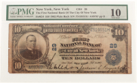1902 $10 Ten Dollars U.S. National Currency Large Bank Note - The First National Bank of the City of New York, New York (PMG 10) at PristineAuction.com