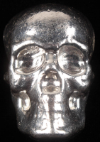 5 Troy Oz Atlantis Hand-Poured Silver Skull at PristineAuction.com