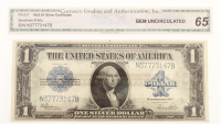1923 $1 One Dollar Blue Seal Large Size Silver Certificate Bank Note (CGA 65) at PristineAuction.com