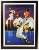 Derek Jeter Signed LE Yankees 24.5x31.5 Custom Framed Canvas Display (Beckett LOA) at PristineAuction.com