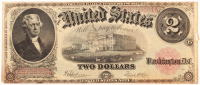1917 $2 Two Dollars Red Seal U.S. Legal Tender Large Size Bank Note at PristineAuction.com