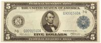 1914 $5 Five Dollars U.S. Blue Seal Federal Reserve Note at PristineAuction.com