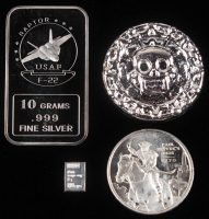 "Lot of (4) .999 Fine Silver Bullion with (1) 50 Gram ""Skull"" Round, (1) 1/2 Troy Ounce ""Paul Revere"" Round, (1) 10 Gram US Air Force Bar & (1) 1 Gram Silver Bullion Bar at PristineAuction.com"