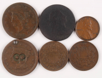Lot of (6) US Coins with (3) 1803-52 One Cent Coins, (2) 1866-67 2 Cent Coins, & (1) 1909 Lincoln Penny at PristineAuction.com