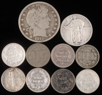 Lot of (10) US Silver Coins with (4) 1899-1912 Barber Dimes, (2) 1865-66 Three Cent Nickels, (1) 1853 Seated Liberty Dime, (1) 1912 Barber Half Dollar, (1) 1916 Mercury Dime, & (1) 1925 Liberty Quarter at PristineAuction.com