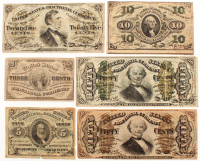 1864 Third Issue Set of (6) U.S. Fractional Currency Bank Notes with 3¢, 5¢, 10¢, 25¢, & (2) 50¢ at PristineAuction.com