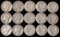 Lot of (15) 1923-45 Mercury Silver Dimes at PristineAuction.com