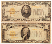 Lot of (2) 1928 U.S. Gold Certificates with (1) $20 Twenty Dollars & (1) $10 Ten Dollars at PristineAuction.com