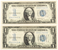 """Lot of (2) 1934 """"Funny Back"""" $1 One Dollar U.S. Silver Certificate Bank Notes at PristineAuction.com"""