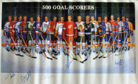 "500 Goal Scorers 22.7x37 Poster Signed by (6) With Gordie Howe, Mike Bossy, Bryan Trottier, Stan Mikita Inscribed ""524"" (Beckett COA) at PristineAuction.com"