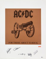 AC / DC 22x28 LIthograph Signed by (5) With Angus Young, Malcolm Young, Brian Johnson, Phil Rudd (Beckett LOA) at PristineAuction.com