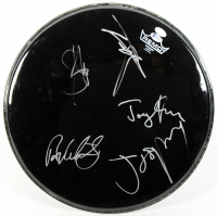 "Aerosmith 16.5"" Drumhead Signed by (5) With Steven Tyler, Joe Perry, Joey Kramer, Brad Whitford (Beckett LOA) at PristineAuction.com"