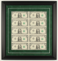 Uncut Sheet of (10) 2017 $1 Dollar Green Seal U.S. Federal Reserve Note Bills 18.5x19.5 Custom Framed Display at PristineAuction.com
