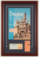 "Walt Disney's ""Disneyland"" 13.75x20.25 Custom Framed Original 1957 Souvenir Guide Display with Vintage Ticket Booklet & Parking Pass at PristineAuction.com"