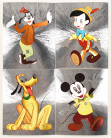 Set of (4) 8x10 VIntage Disney Dufex Foil 3D Prints with Mickey Mouse, Goofy, Pluto, & Pinocchio at PristineAuction.com