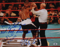 "Mike Tyson & Evander Holyfield Signed 11x14 Photo Inscribed ""Sorry But You Should Not Had Head Butt Me"" (Beckett COA) at PristineAuction.com"