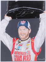 "Dale Earnhardt Jr. Signed NASCAR 18"" x 24"" Original Painting on Canvas by Stephanie Arnwine of Grahound Art (Dale Jr. Hologram) (1/1) at PristineAuction.com"