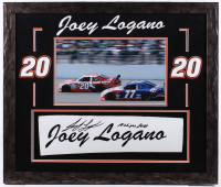 "Joey Logano Signed NASCAR 22x26 Custom Framed Race-Used Name Plate Sheet Metal Display Inscribed ""Michigan 2010"" (PA COA) at PristineAuction.com"