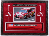 Kyle Larson Signed NASCAR 22x30 Custom Framed Race-Used Name Plate Sheet Metal Display (PA COA) at PristineAuction.com