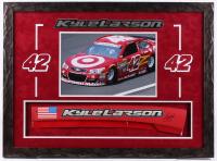 Kyle Larson Signed NASCAR 22x30 Custom Framed Race-Used Name Plate Sheet Metal Display (PA COA) at PristineAuction.com