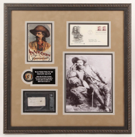"Buffalo Bill Signed 22x22.25 Custom Framed Cut Display Inscribed ""1888"" with FDC Issue Envelope (BGS Encapsulated) at PristineAuction.com"