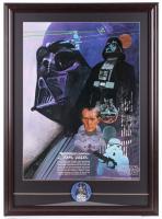 Vintage 1977 Coca Cola Star Wars 23x31.5 Custom Framed Poster Display with Original 1977 Darth Vader Pin at PristineAuction.com