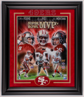 Jerry Rice, Joe Montana & Steve Young Signed 49ers 24x28.5 Custom Framed Photo Display (PSA LOA) at PristineAuction.com